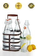 32 Oz Clear Glass Beer Bottles Home Brewing, 4 Pack With Flip Caps W/ Caddy