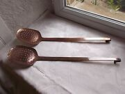 French 2 Copper Antique Colanders Drainers Strainers Country Kitchen Decoration