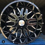 4new 24x12 Axe Compression Forged 1.0 Black Milled Wheels 8x180 Chevy Gmc 2500