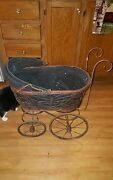 Old Vintage Pram Doll Baby Buggy. Old, Dirty And Rusty.