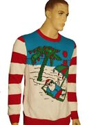 Mens Santa Claus Beach Bum St Nick Light Up Ugly Christmas Sweater Party S M New