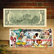 Mickey Mouse 90th Birthday Genuine 2 U.s. Bill Pop Art - Hand-signed By Rency