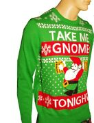Mens Drunk Gnome Take Me Home Tonight Beer Ugly Christmas Sweater Party Med New