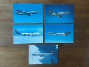Lot X5 Rare Olympic Airways Airliner Real Photo Postcards Boeing And Airbus F1p6