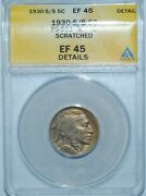 1930 S/s Anacs Xf45 Details Fs-501 Rpm Repunched Mint Mark Buffalo Nickel