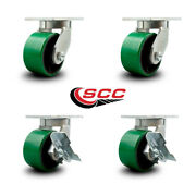 6 Inch Heavy Duty Green Poly On Cast Iron Wheel Swivel Caster Set With 2 Brakes
