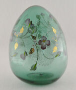 Fenton Egg Large Green Flowers Vines And Leaves Hand Painted And Signed 4 3/4