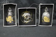 Lot Of 3 Rosenthal Crystal Glass Christmas Tree Ornaments Hanging Bells, Globe