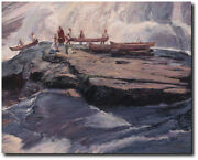 A Brief Delay At The Wall By John Buxton - Native People Of Northeast - Canvas