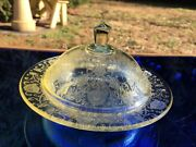 Florentine No. 2 Poppy Depression Glass Butter Dish And Cover Yellow Hazel Atlas
