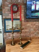 """Pair Of Huge Christmas Vintage 36"""" Brass Altar Candle Holders 2 Sets Of Candles"""