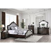 1pc Queen Size Bed Curling Wood Trim Tufted Head/footboard Bedroom Furniture