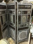 Antique Wood Room Divider Screen Inlaid Mother Of Pearl And Hand Work Arabesque