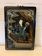Vintage Antique Chinese Export Reverse Glass Painting Woman W/ Fan And Bird