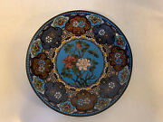 Antique Chinese Or Japanese Cloisonne Charger Plate W/ Floral And Butterfly Dec.
