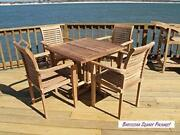 Windsor's Genuine Grade A Teak 35 Square Dropleaf Table W/4 Stacking Arm Chairs