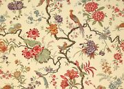 Manuel Canovas Tree Of Life Pheasants And Floral Fabric 10 Yards Coral Green Multi