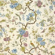 Manuel Canovas Tree Of Life Pheasants And Floral Fabric 10 Yards Blue Green Multi