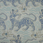 Clarence House Chinoiserie Tibet Toile Linen Fabric 10 Yards Pale Blue