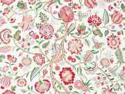 Brunschwig And Fils Jacobean Floral Fabric Linen 10 Yards Green Red Cream Multi
