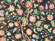 Brunschwig And Fils Jacobean Floral Fabric Linen 10 Yards Black Blue Red Multi