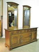 Vintage Ethan Allen Classic Manor Eight Drawer Triple Dresser Two Mirrors 72