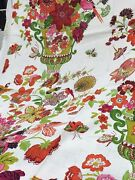 Schumacher Shabby Floral Bouquets And Peacocks Birds Fabric 10 Yards Green Multi