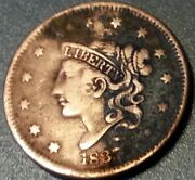 1837 Head Of 1838 Coronet Matron Young Head Usa Large Cent Penny Beaded Cords