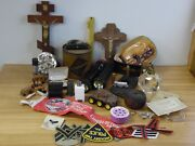 Large Mixed Lot Of Junk Drawer Military Pin Patches Trains Religious Odds Ends