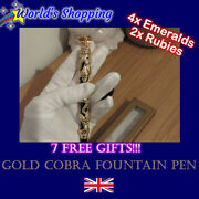 Luxury Department Gold Cobra Ruby Emerald Fountain Pen With 18k Gold Nib