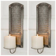 Unique Set Of 2 Galvanized Metal Candle Holders Farmhouse Wall Hanging Sconce