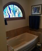 Stained Glass Window Abstract Transom Panel Ooak