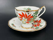 Queen Anne Noel Tea Cup With Saucer Set England Bone China Rare