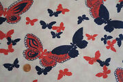 One Vintage Feedsack Red Blue Butterflies 36 X 44 Pristine Novelty