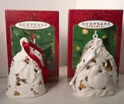 Hallmark/lot Of 2 Porcelainbells 2000-01/partridge In Pear Tree And Hollyberrybell