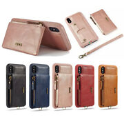 10pcs/lot Zipper Wallet Pu Leather Back Case With Strap For Iphone X Xr Xs Max