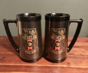 2 Matching Vintage Michelob Black Beer Stein Mugs - Usa Thermo Serv West Bend