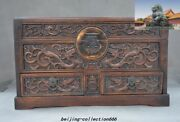 China Huanghuali Wood Hand Carved Animal Dragon Statue Drawer Storage Box Boxes