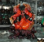 13 China Fengshui Natural Agate Onyx Hand Carved Exquisite 2 Horse Lucky Statue