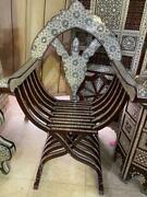 Antique Curved Wood Chair Inlaid Mother Of Pearl