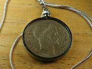 1948 French 10 Franc Vintage Coin Necklace, 18 Sterling Silver Snake Chain