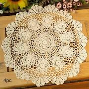 Table Placemat Crochet Doilies Handmade Lace Round Cotton 15inch Pack Of 4 Beige