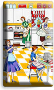 Retro Housewives 50's Kitchen Pattern Phone Telephone Wall Plates Kitchen Decor