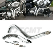 Tcmt Chrome 1 3/4 Pipes Exhaust Fit For Harley Touring Sportster Softail Drag