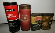 Rare 4 Vintage Collectible Tube Repair Kit Can Lot Allsate Wards Inland Wiz