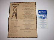 Vintage Menu Beefeater Club By The Tower Of London