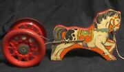 Vintage Pull Toy Noise Maker The N.n. Hill Brass Co. Metal Wheels Wooden Horse