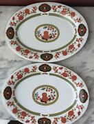 """Pair Of 2 Chinese Oblong Plates, Liling Fine China, """"yung Shen"""", 14 1/8 X 10 1/2"""