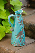 New French Country Chic Rustic Blue Bird Pottery Jug Crock Vase Pitcher 13