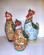 Set Of 3 - Homeview Design Inc. Chicken Figurines - Hollow Resin 12431